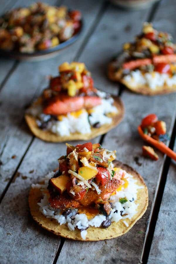 Caribbean Jerk Salmon Tostadas with Grilled Pineapple Peach Coconut ...