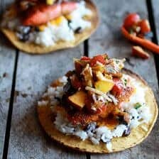 Caribbean Jerk Salmon Tostadas with Grilled Pineapple Peach Coconut Salsa