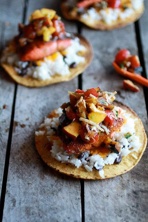 Caribbean Jerk Salmon Tostadas with Grilled Pineapple Peach Coconut Salsa | halfbakedharvest.com