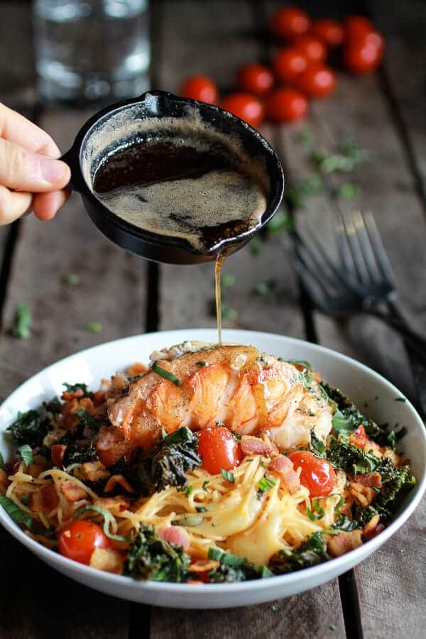 Brown Butter Lobster, Bacon + Crispy Kale and Fontina Pasta | halfbakedharvest.com