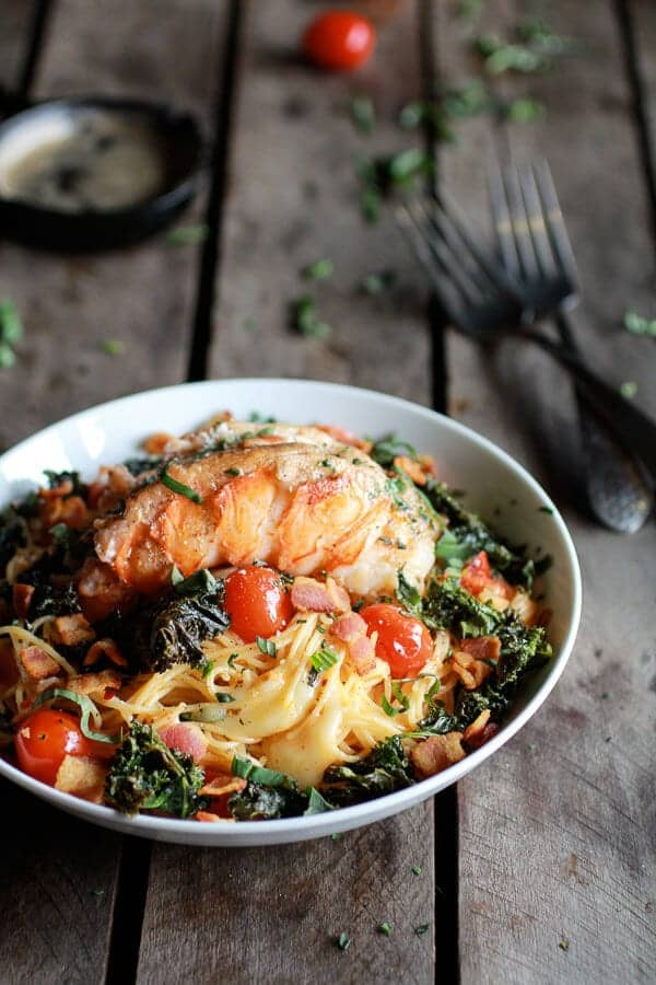Brown Butter Lobster, Bacon + Crispy Kale and Fontina Pasta | halfbakedharvest.com