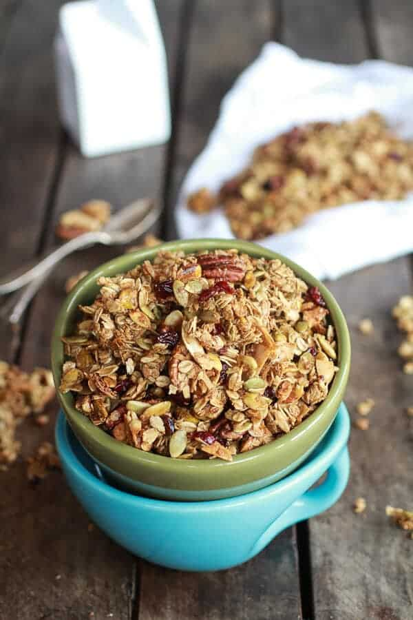 Brown Butter Pumpkin Seed and Espresso Glazed Big Cluster Granola | halfbakedharvest.com