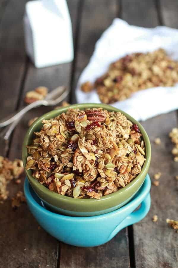 Brown Butter Pumpkin Seed and Espresso Glazed Big Cluster Granola | halfbakedharvest.com