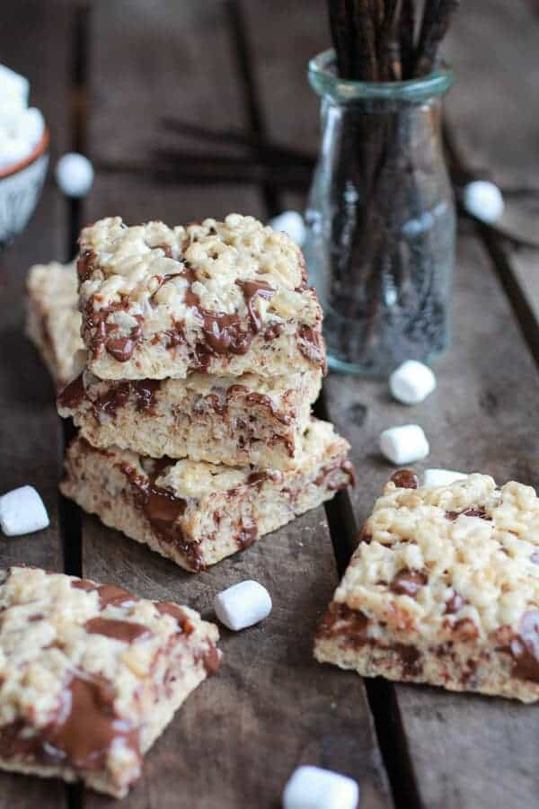Brown Butter Vanilla Bean and Nutella Swirled Rice Krispie Treats