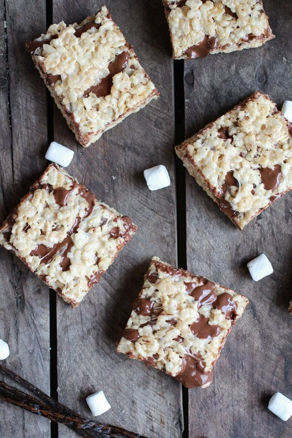 Brown Butter Vanilla Bean and Nutella Swirled Rice Krispie Treats | halfbakedharvest.com