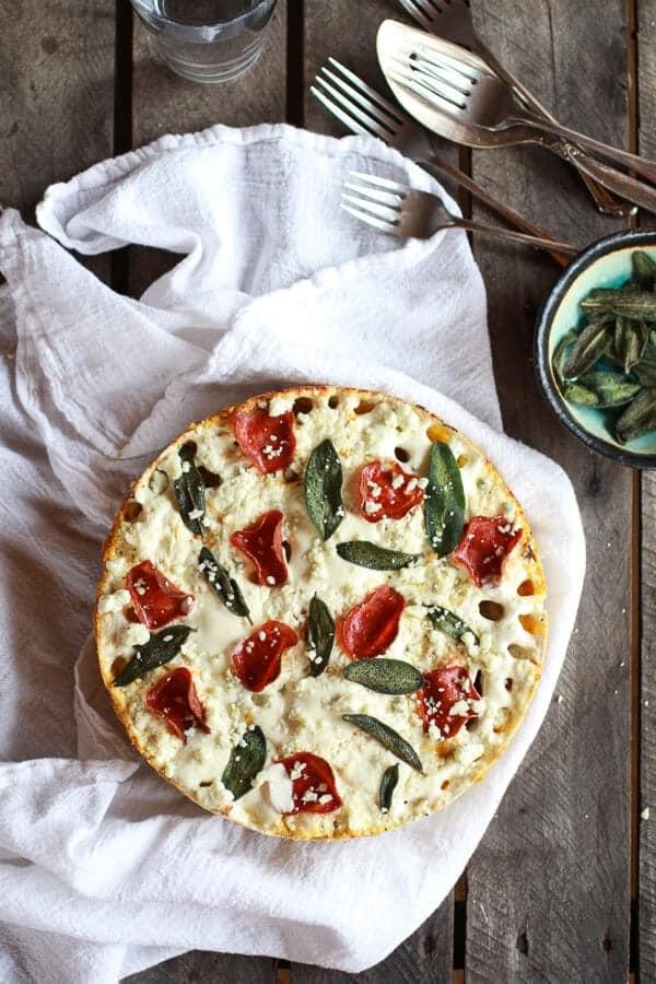 Butternut Squash and Gorgonzola Rigatoni Pasta Pie with Fried Sage | halfbakedharvest.com