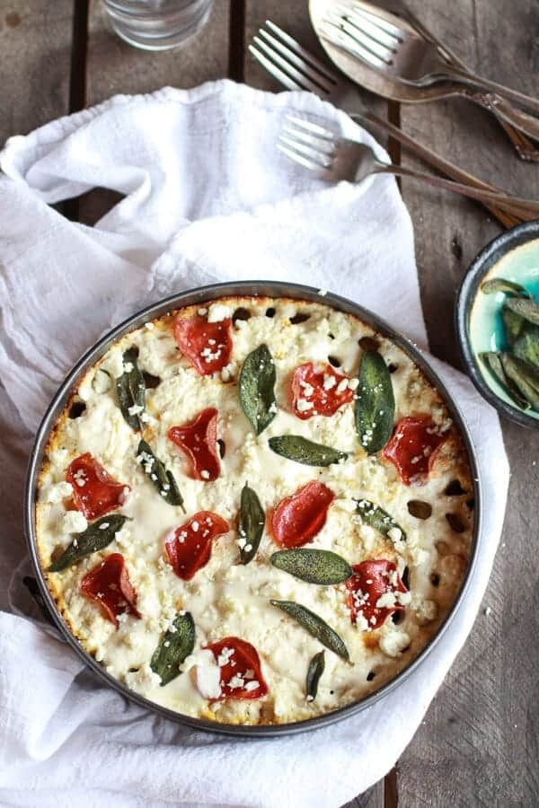 Butternut Squash and Gorgonzola Rigatoni Pasta Pie with Fried Sage | halfbakedharvest.com
