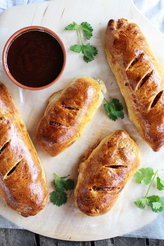Caramelized Onion and BBQ Chicken Strombolis | halfbakedharvest.com