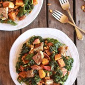 Crispy Kale Roasted Autumn Salad with Brie Grilled Cheese Croutons-4