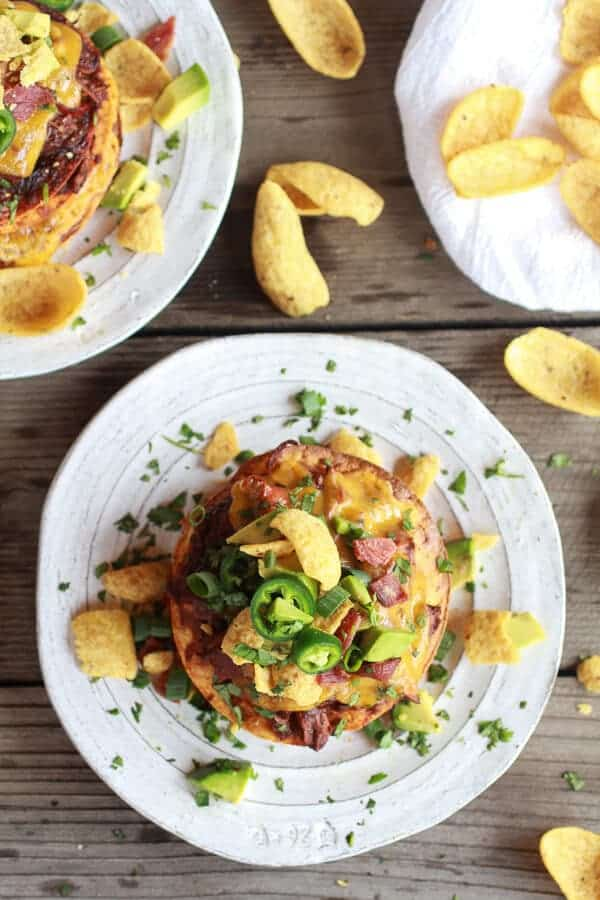 Crockpot Chicken Chili Con Carne Loaded Tostada Stacks | halfbakedharvest.com