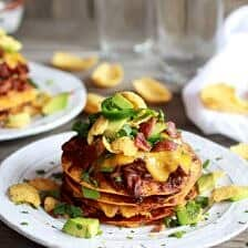 Crockpot Chicken Chili Con Carne Loaded Tostada Stacks