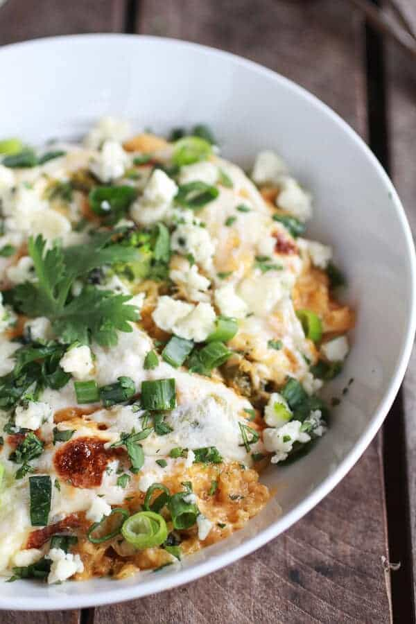 Easy Creamy Buffalo Chicken Quinoa Bake | halfbakedharvest.com