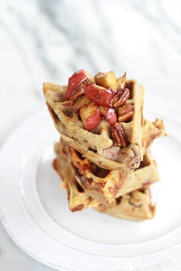 Roasted Apple Pecan and Brie Buckwheat Waffles with Bourbon Caramel Drizzle | halfbakedharvest.com