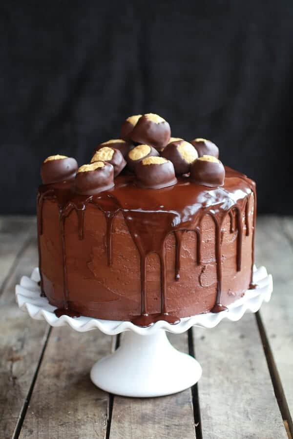 Ultimate Triple Layer Chocolate Bourbon Peanut Butter Buckeye Cake