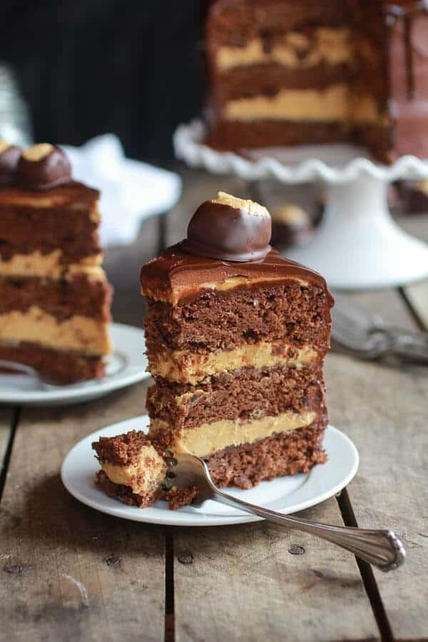 Ultimate Triple Layer Chocolate Bourbon Peanut Butter Buckeye Cake | halfbakedharvest.com