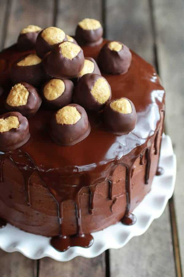 Ultimate Triple Layer Chocolate Bourbon Peanut Butter Buckeye Cake ...