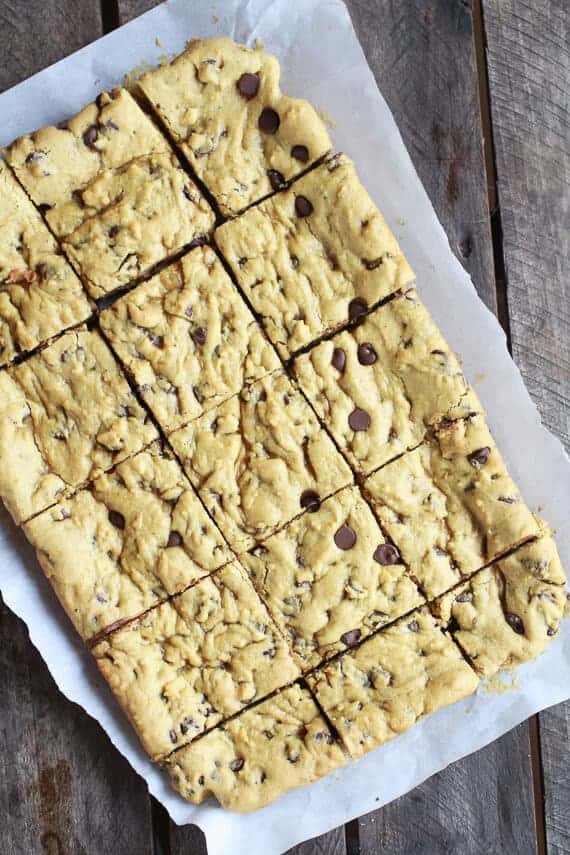 Whole Wheat Chocolate Chip Pumpkin Cookie Bars | halfbakedharvest.com