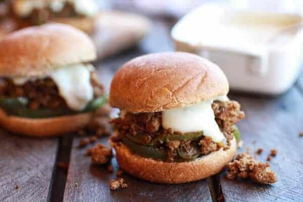 20 Minute Chicken Cheesesteak Sloppy Joe Sliders | halfbakedharvest.com