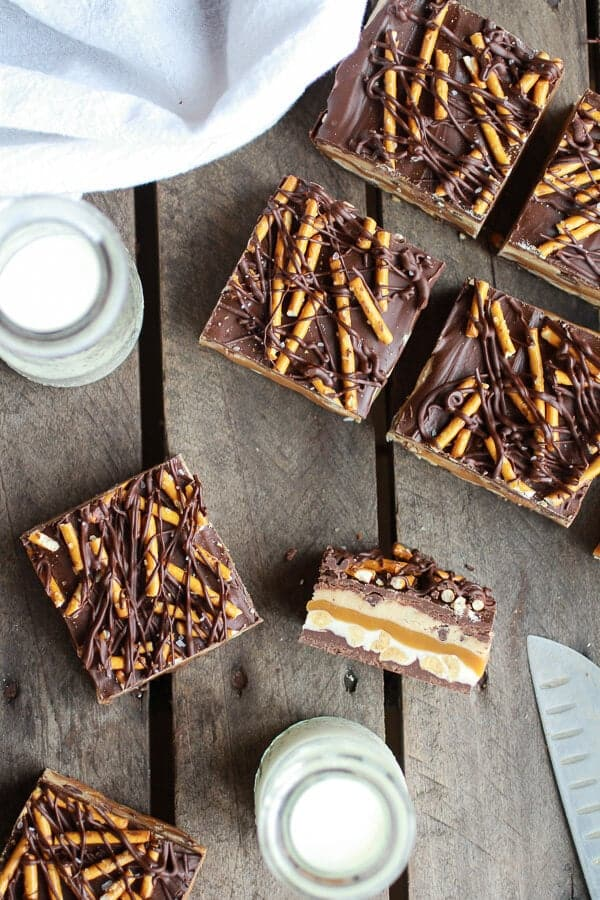 Salted Pretzel Chocolate Chip Cookie Dough Snickers Bars | halfbakedharvest.com