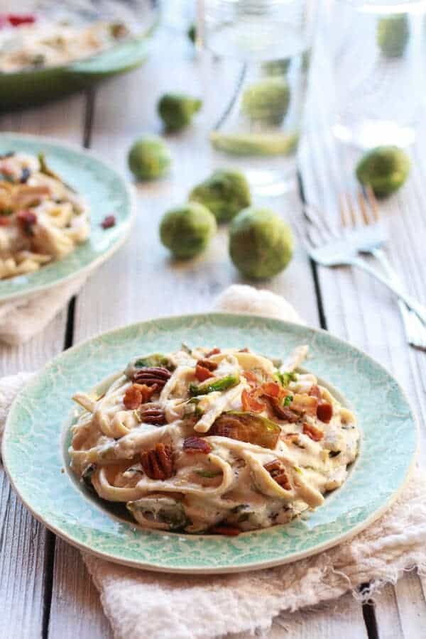 Caramelized Brussels Sprouts and Bacon Fettuccine Alfredo | halfbakedharvest.com