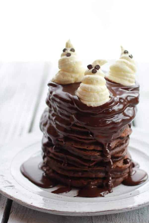 Chocolate Lovers Pumpkin Fudge Brownie Pancakes with Chocolate Kahlua Sauce | halfbakedharvest.com