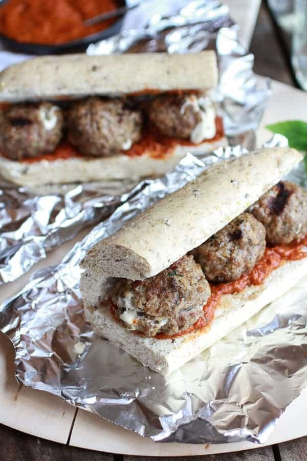 Easy Burrata Cheese Stuffed Spicy Meatball Subs | halfbakedharvest.com
