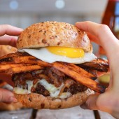 Epic Crispy Quinoa Burgers Topped with Sweet Potato Fries, Beer Caramelized Onions + Gruyere-14