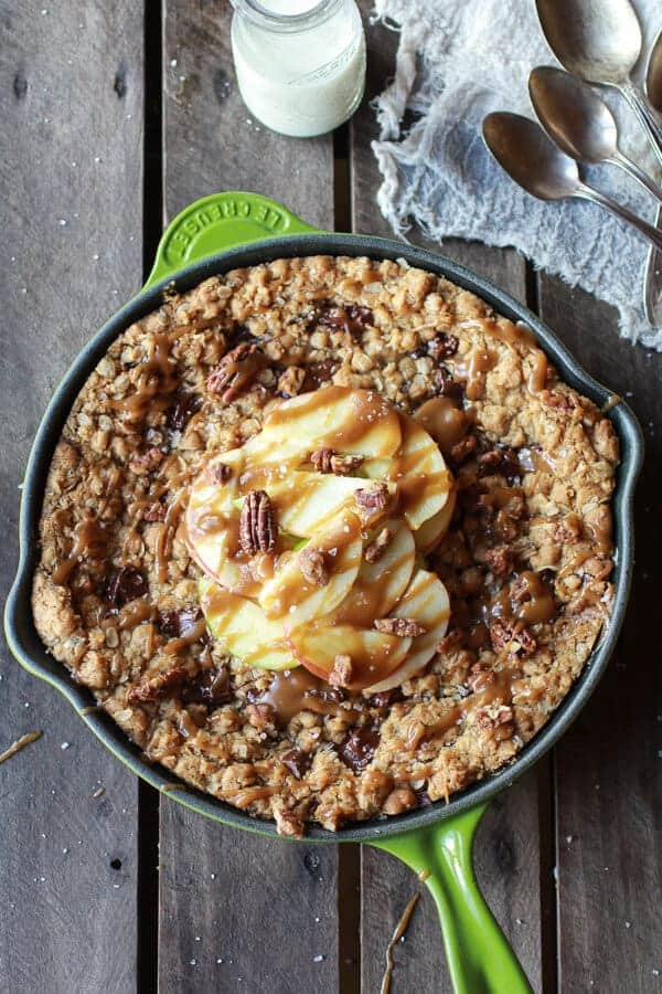 Oatmeal Chocolate Chunk Salted Coffee Caramel Apple Skillet Cookie | .halfbakedharvest.com