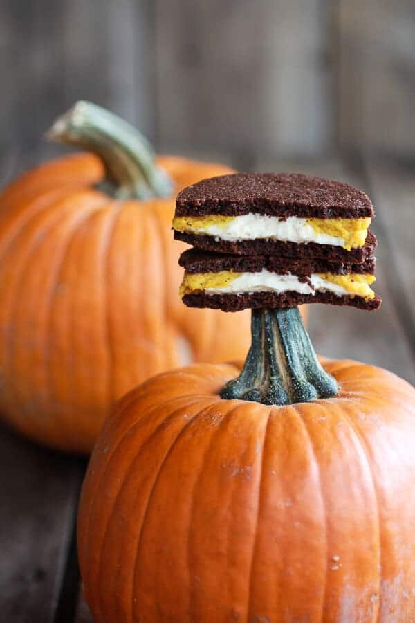 Double Stuffed Pumpkin Pie Oreos | halfbakedharvest.com