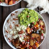 Roasted Harvest Veggie, Pomegrantes and Curried Avocado + Coconut Rice Bowls-5