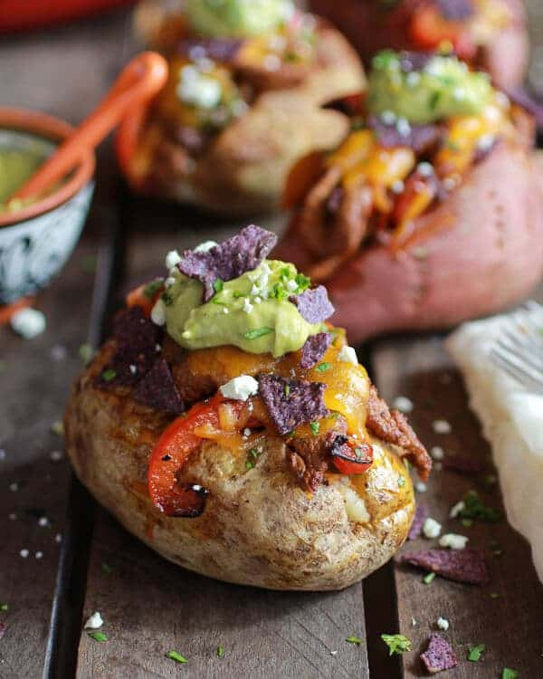 Steak Fajita Stuffed Baked Potatoes with Avocado Chipotle Crema | Steak Fajita Stuffed Baked Potatoes with Avocado Chipotle Crema