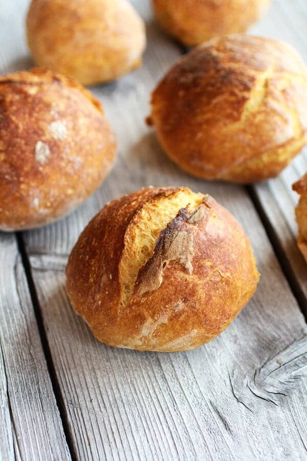 Super Easy Crusty No-Knead Pumpkin Bread Bowls-1