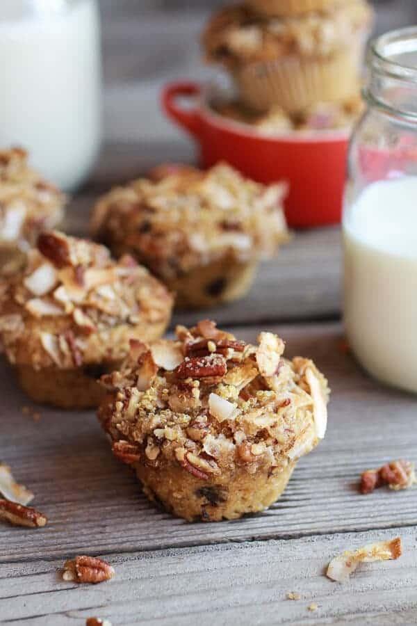 Sweet Potato, Quinoa and Dark Chocolate Coconut Crumble Crunch Muffins   halfbakedharvest.com