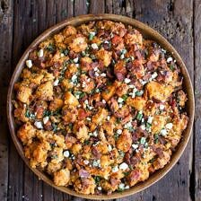 Buffalo Cheddar Beer Bread Stuffing