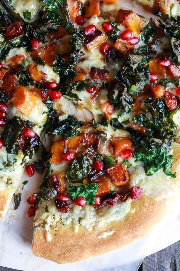Caramelized Butternut, Crispy Kale + Fontina Pizza | halfbakedharvest.com