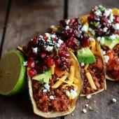 Chipotle Quinoa Sweet Potato Tacos with Roasted Cranberry Pomegranate Salsa-7