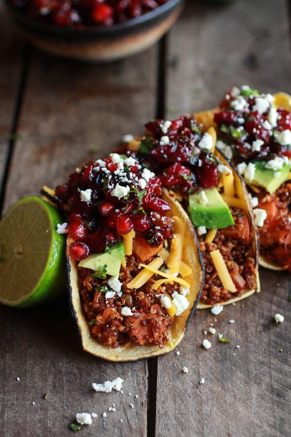 Chipotle Quinoa Sweet Potato Tacos with Roasted Cranberry Pomegranate Salsa-7