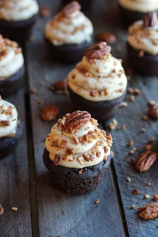 Chocolate Bourbon Pecan Pie Cupcakes with Butter Pecan Frosting