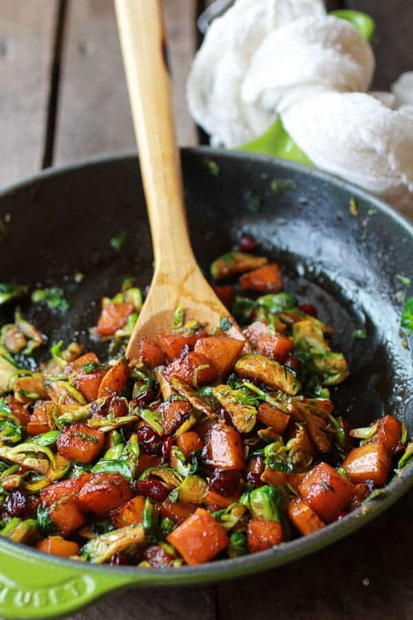 Cranberry, Butternut and Brussels Sprout Brie Skillet Nachos | halfbakedharvest.com
