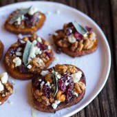 Curried Sweet Potato Rounds with Honeyed Walnuts, Cranberries and Blue Cheese-5