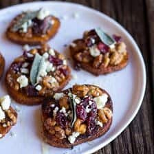 Curried Sweet Potato Rounds with Honeyed Walnuts, Cranberries and Blue Cheese
