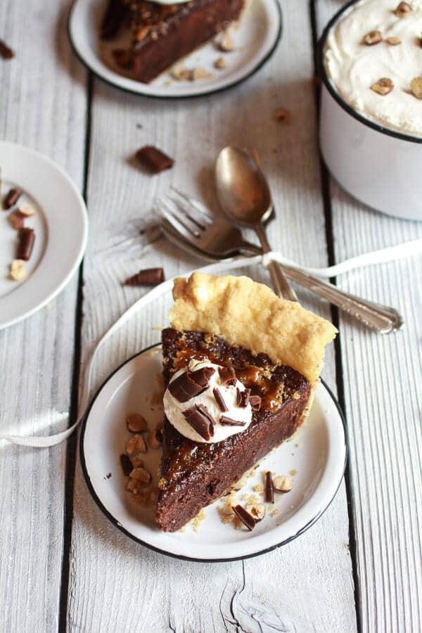 Fudge Brownie and Chocolate Liqueur Crème Brûlée Pie | halfbakedharvest.com