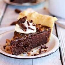Fudge Brownie and Chocolate Liqueur Crème Brûlée Pie