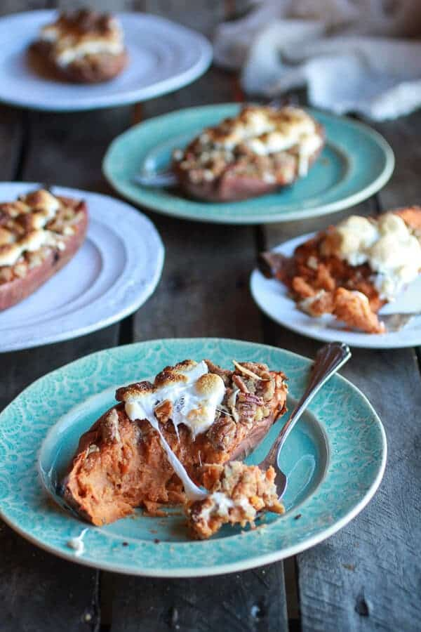 Healthier Sweet Potato Casserole Boats with Pecan Flax Crumble | halfbakedharvest.com