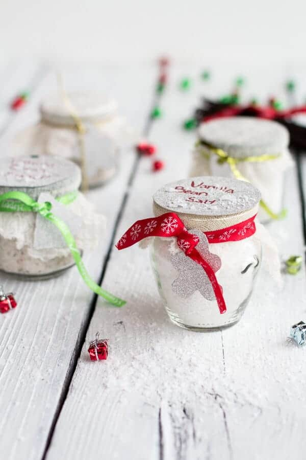 Homemade Holiday Gifts: Vanilla Bean Salt + Vanilla Bean Sugar | halfbakedharvest.com