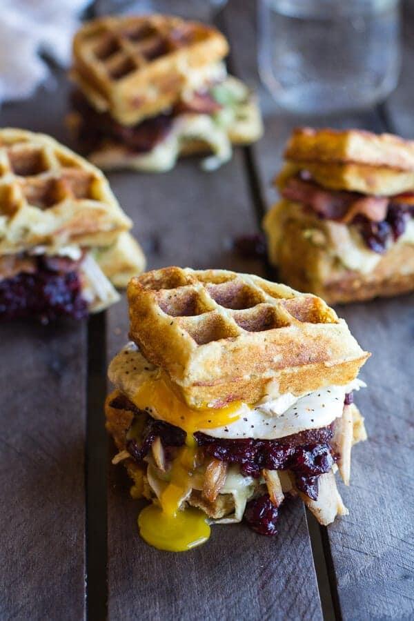 Mashed Potato Waffle With Turkey, Avocado, Cranberry, Bacon and Egg Melt form Halfbaked Harvest | 10 Best Thanksgiving Leftover Ideas