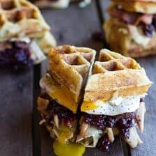 Turkey, Smashed Avocado, Cranberry, Brie and Mashed Potato Waffle Melts