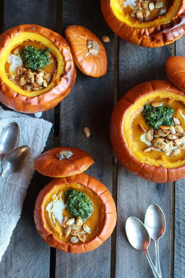 Roasted Garlic Sage Pesto Pumpkin Soup with Spicy Fried Pumpkin Seeds | halfbakedharvest.com