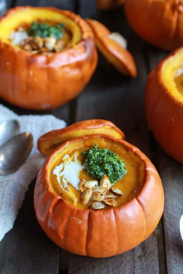 Roasted Garlic Sage Pesto Pumpkin Soup with Spicy Fried Pumpkin Seeds | halfbakedharvest.com