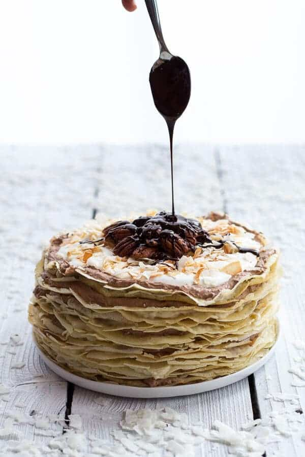 Toasted Coconut Cream Rum and Chocolate Mousse Crepe Cake - Half Baked ...